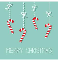 Merry Christmas Hanging Candy Cane Dash line with vector