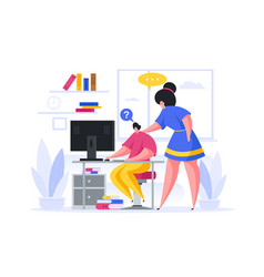 Mother helping son during online lesson at home vector