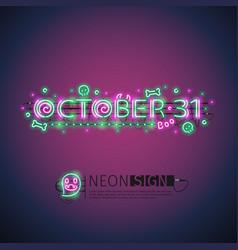October halloween neon sign vector