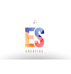Orange blue alphabet letter es e s logo icon vector