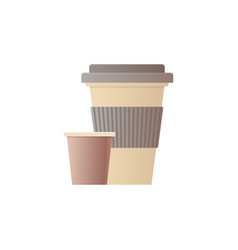 paper disposable cup for beverage with lid flat vector image