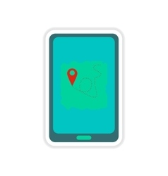 Paper sticker on white background mobile phone map vector