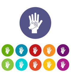 parent and child hands together set icons vector image
