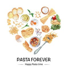 Pasta wreath design with linguine egg fork vector