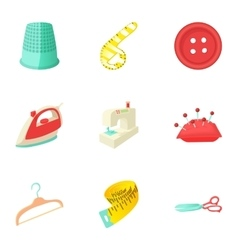 Patching of clothes icons set cartoon style vector