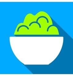 Porridge Bowl Flat Long Shadow Square Icon vector image