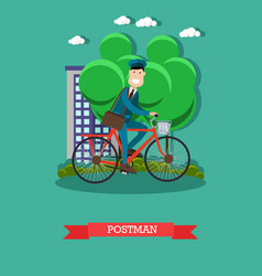 Postman in flat style vector