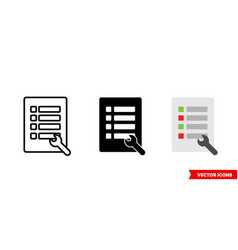 Properties icon 3 types color black and white vector