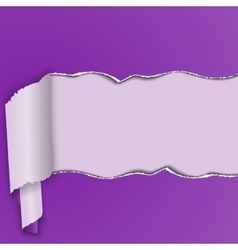 Purple background with a torn strip of paper vector