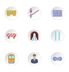 Railway transport icons set cartoon style vector