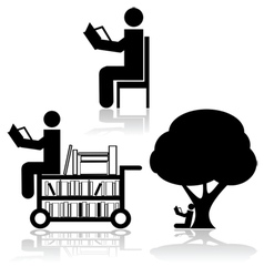 Reading icons vector image