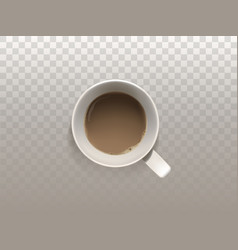 realistic white cup of coffee top view vector image