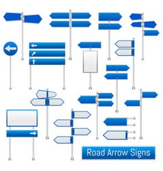 road arrow signs realistic set vector image
