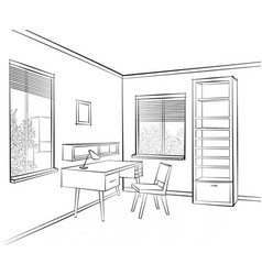 room interior sketch workplace in sunny room vector image