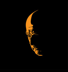 Scary hairless old man portrait silhouette in vector