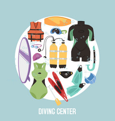 scuba diving center banner vector image