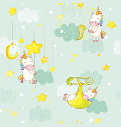 Seamless baby on a star unicorn background pattern vector
