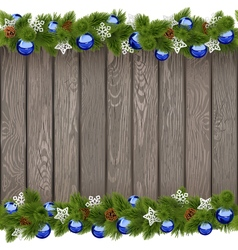 Seamless Christmas Old Board with Blue Balls vector image