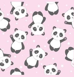Seamless cute cartoon panda pattern vector