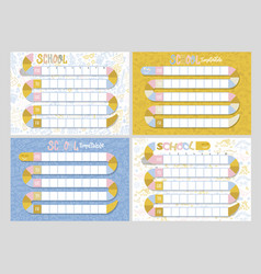 Set 4 school timetables timetable lessons vector