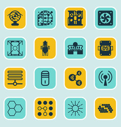 Set of 16 robotics icons includes information vector