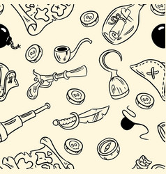 Set of pirate doodles seamless pattern vector