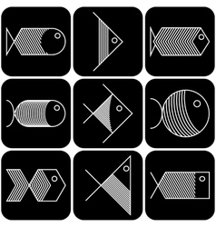 Set of white fish icons on black background vector image