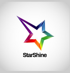 shiny colorful rainbow logo with star track logo vector image