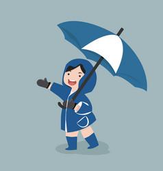 small girl hold umbrella in rainy season vector image