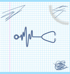 Stethoscope with a heart beat line sketch icon vector