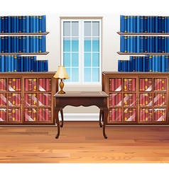 Study room with bookshelves and table vector