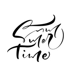 summer time hand drawn lettering calligraphy vector image