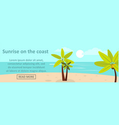 sunrise on the coast banner horizontal concept vector image