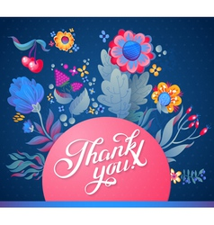 Thank you card in bright colors vector