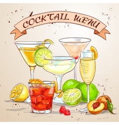 The Unforgettables Cocktail menu vector image