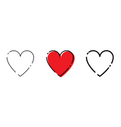 three heart icons red and black color in trendy vector image