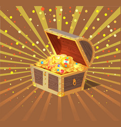 treasure chest wooden casket filled with gold vector image