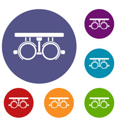 trial frame for checking patient vision icons set vector image