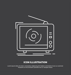 tv ad advertising television set icon line symbol vector image