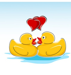 valentine card with ducks vector image