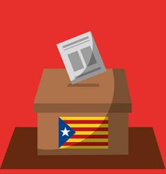 Vote box ballot catalonia flag separatism vector