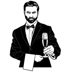 Waiter with champagne glass vector