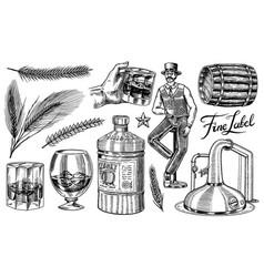 Whiskey set glass bottle wooden barrel scotch vector