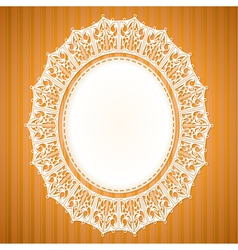 White lace doily on an orange background vector