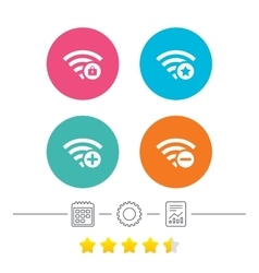 Wifi Wireless Network icons Wi-fi add remove vector image