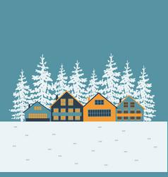 Winter village poster vector