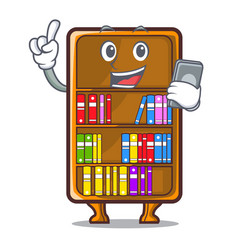 With phone mascot bookcase beside the study desk vector