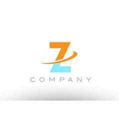 Z orange blue logo icon alphabet design vector