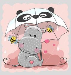 cute hippo with umbrella vector image