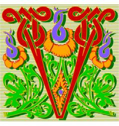 decorative letter V vector image vector image
